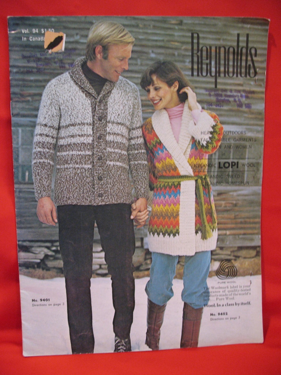 Reynolds Lopi Wool Sweater Wrap Jacket Knitting Pattern etc