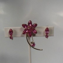 Pink Floral Rhinestone Brooch & Clip-On Earrings Set - $23.75