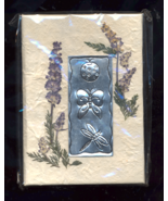 Handmade Real Floral Jounal With Etched Metal Garden Bugs  - $10.00