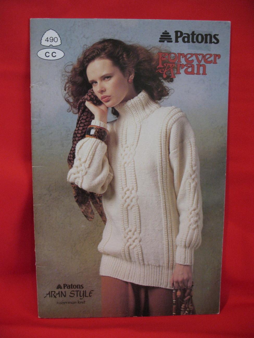 Patons Aran Style Fisherman Knit Knitting Patterns Sweaters