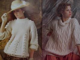 Patons Aran Style Fisherman Knit Knitting Patterns Sweaters  image 2