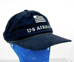 US Airways Black Corduroy Baseball Cap Hat Snapback Box Shipped - $26.99