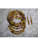 Glass and Ceramic Bead Gypsy Bracelet and Earring Set Browns and Yellows - $8.00