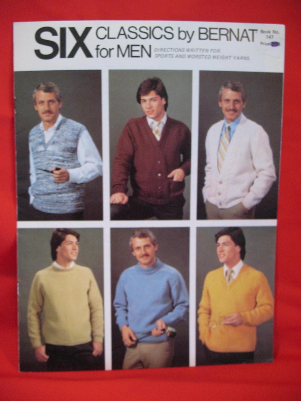 Bernat Knitting Patterns Mens Sweaters Vests Cardigans Bonanza