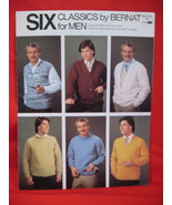 Bernat Knitting Patterns Mens Sweaters Vests Cardigans - $4.99