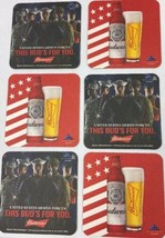 Lot 10 Budweiser USA Armed Forces Beer Mat Coaster This Buds For You Sou... - $9.90