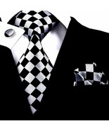 New Classic Men's Tie Black Plaids Checks Silk Necktie Set Business Wedding - $10.88