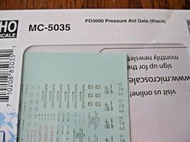 Microscale Decals #MC-5035 PD3000 Pressure Aid Data (Black) HO Scale image 1
