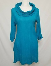 Soft Surroundings Womens S Crinkle Cowl Tunic 3/4 Sleeve Top Blue - $24.99