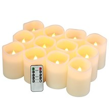 qinxiang Flameless Candles Battery Operated Candles Set of 12D3 x H4 Pillar Real