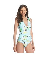 Vince Camuto Women's Faux-wrap Printed One-piece Sw Aqua Shade Size 4 - $54.45