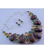 Citrine-Peridot-Jasper Silver Overlay Handmade Jewelry Necklace-Oj-287-62 - $44.55
