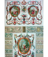 DECORATIVE TAPESTRIES 18th C Meanders Pastoral - A. RACINET Color Litho ... - $30.60