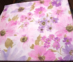 """52"""" X 60"""" Floral Tablecloth- Large Watercolor Look - Pink and Purple #5041 - $14.99"""