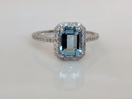 Uamarine and diamond halo ring emerald cut extraordinary fine jewelry rings ebay 654689 thumb200