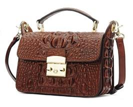 Crocodile Embossed Leather Messenger Crossbody Top Handle Shoulder Bag 2459 - $184.99