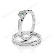 14K White Gold Plated RD Cut Emerald Gemstone Engagement Flower Bridal Ring - $114.99