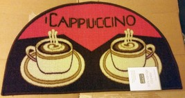 """PRINTED NYLON KITCHEN RUG (18""""x 30"""") 2 COFFEE CAPPUCCINO CUPS, by ST, slice - $16.82"""