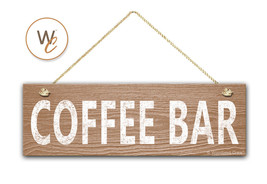 "COFFEE BAR Sign, 5.5"" x 17"" Wood Sign, Rustic Cafe Home Decor, Kitchen Sign - $20.25"