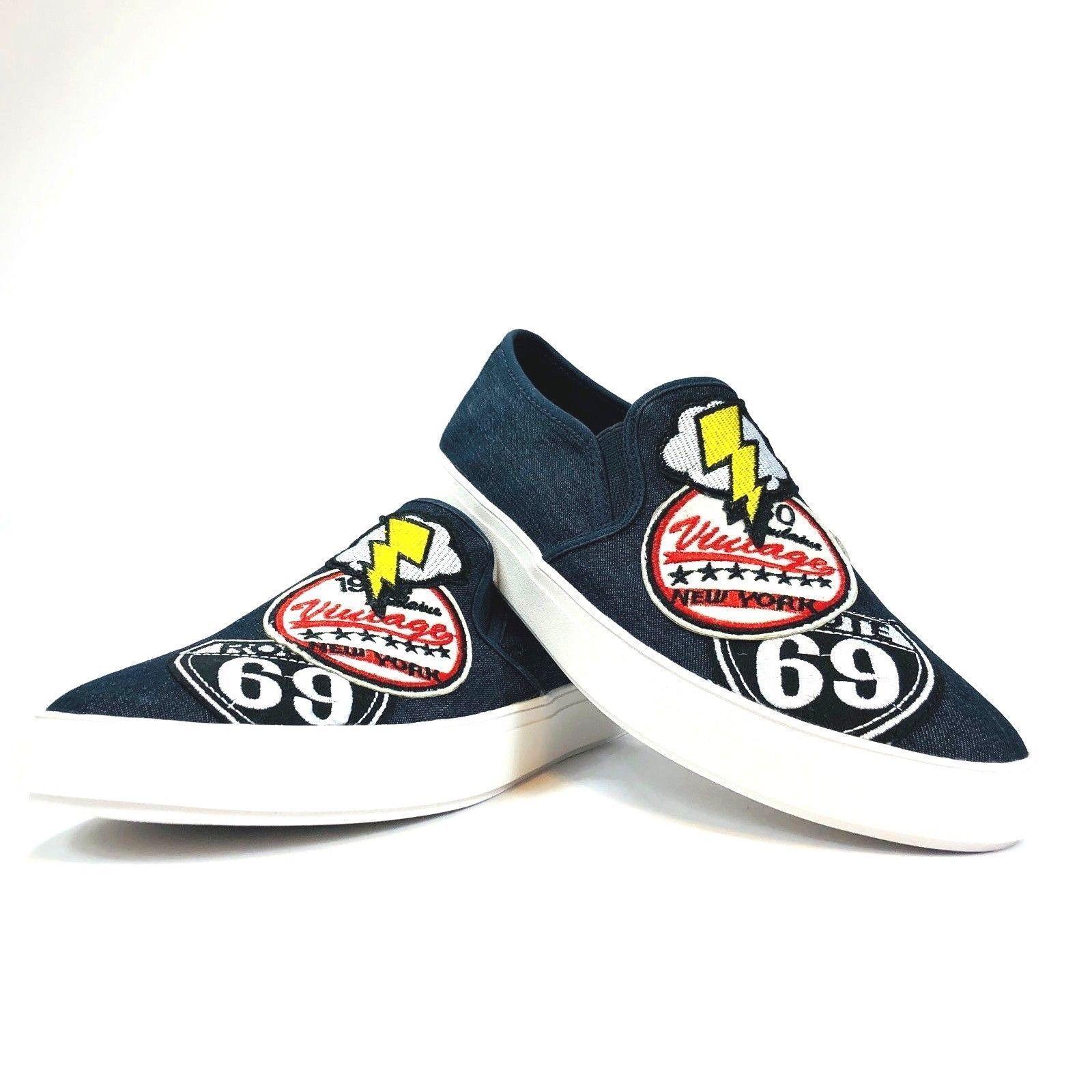 Steve Madden Wasdin Navy Blue or Military Denim Slip On Loafers Mens Vintage