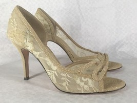 NIB J.Renee Alameda Gold Lace D Orsay Peep Toe Pumps Sz 10 MSRP $99 - $29.99