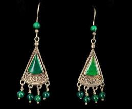 "Vintage Sterling Green Onyx Ornate Bead Drop Dangle Earrings 2.25"" - $71.99"