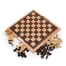 Trademark Games Deluxe Wooden Chess, Checker and Backgammon Set, Brown - $44.90