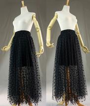Black Polka Dot Tulle Skirt Black Long Tulle Skirt Outfit High Waisted image 1