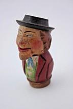 Vintage Folk Art Carved Wood Bottle Stopper Man Drunk w/ Hat Mechanical ... - $23.76