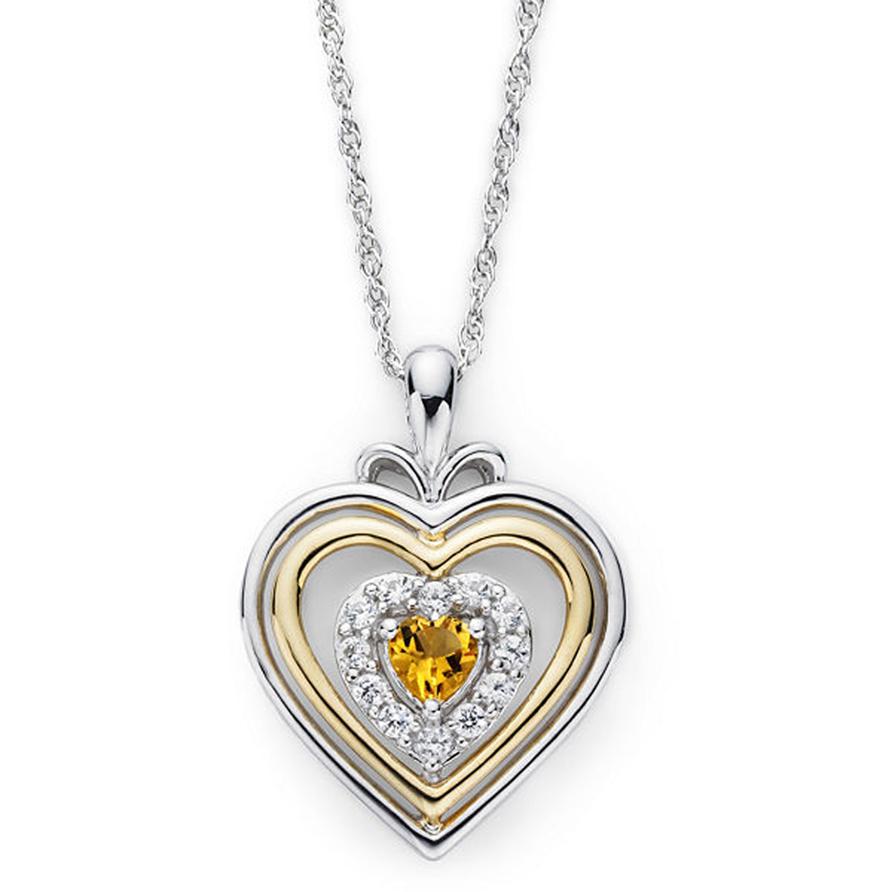 "Primary image for Citrine & Sim.Diamond Accent Two-Tone Plated Heart Pendant With 18"" Necklace"