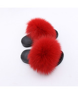 Princess Girls Fox Fur Slippers Flats Plush Fluffy Flip Flops for Kids ... - $49.99