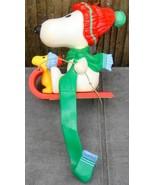 Vtg 1978 Hallmark Peanuts Snoopy/Woodstock Sled Stocking Hanger Holder C... - $19.99