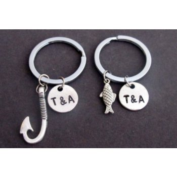 Primary image for Fish & Hook Key Chain Set, Husband Wife, Girlfriend Boyfriend, Couples Jewelry