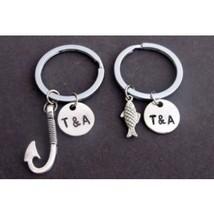 Fish & Hook Key Chain Set, Husband Wife, Girlfriend Boyfriend, Couples J... - $15.60