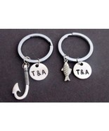 Fish & Hook Key Chain Set, Husband Wife, Girlfriend Boyfriend, Couples J... - $15.60