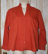 Womens Deep Orange Chicos Long Sleeve Shirt Size 3 or XL NEW NWT - $14.84
