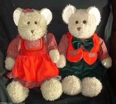 Vintage 1994 Commonwealth Pair Christopher Holly Teddy Bear Stuffed Animal Plush - $55.17