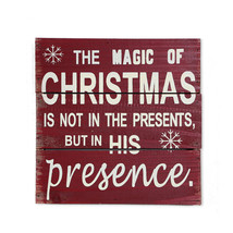 """Antique Style Red Holiday Wood Wisdom Sign Christmas Decor Hanging Sign 8"""" - $11.91"""