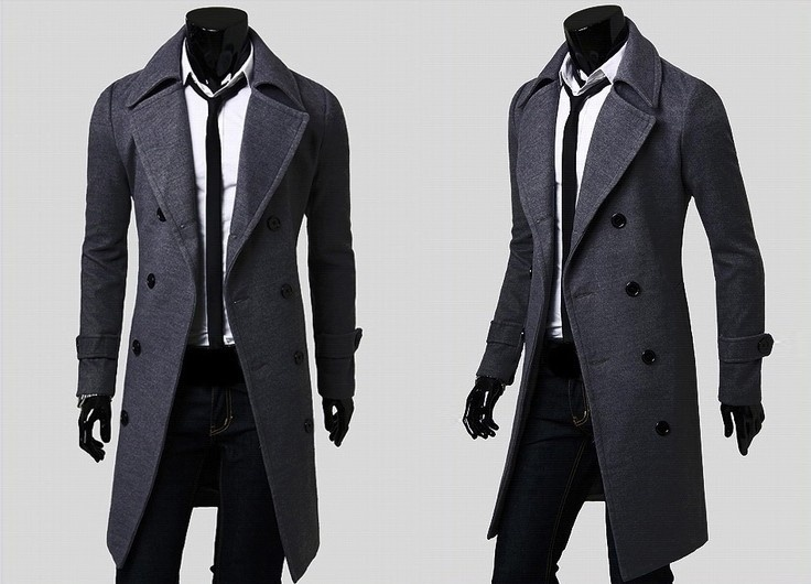 Fashion men leisure long coat wool overcoat image 4