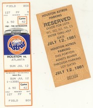 Atlanta Braves @ Houston Astros 7/12/81 Phantom Ticket! Parking Pass 198... - $3.36