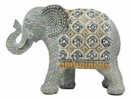 """Silver Grey Accent Mosaic Design Noble Elephant With Trunk Up Statue 9""""L... - $34.64"""