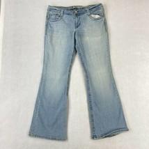 LEI Ashley Trouble Flare Denim Jeans Juniors 15R Blue Flap Back Pockets ... - $18.95