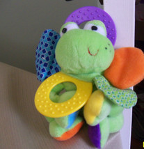 infantino baby frog plush rattle activity toy mirror teething ring crinkle - $9.89