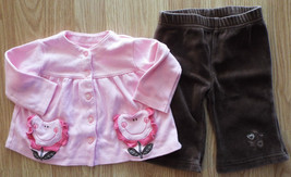 Girl's Size 3-6 M Month Two Piece Pink Floral Pocketed Top, Brown Pants ... - $14.00