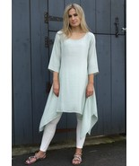 Light Breezy Summer Dress Long Top Lagenlook 3/4 Sleeve Mint By MQ UK - $42.00