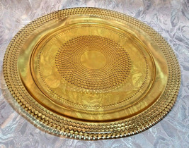 VINTAGE AMBER PLATE WITH HOBNAIL DESIGN - 2 SIZES TO CHOOSE FROM