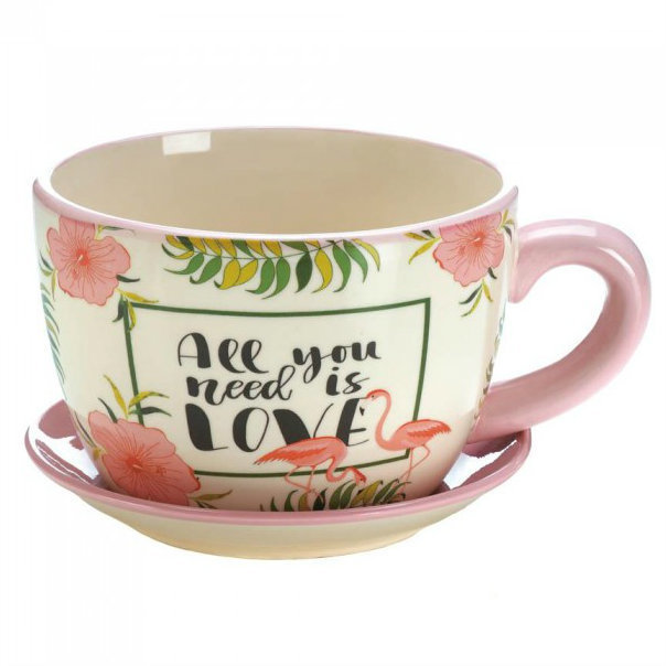 All You Need is Love Pink Flamingo Tea Cup Planter