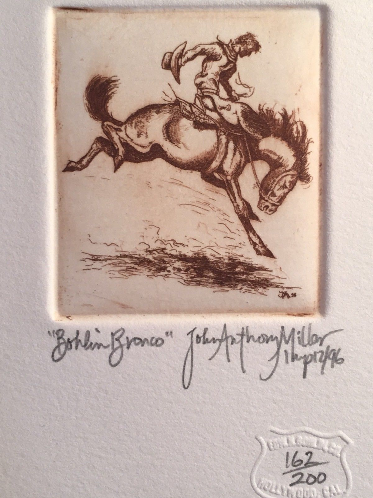 Bohlin Bronco Etching limited John Anthony Miller - w/ John T. Reynolds COA