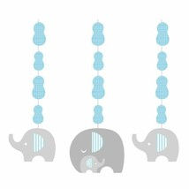 Little Peanut Boy 3 Hanging Cutouts Blue Elephant Baby Shower - $6.39