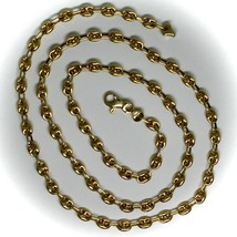 """18K YELLOW GOLD OVAL NAUTICAL MARINER CHAIN 5 MM, 24"""", ANCHOR ROUNDED NECKLACE image 2"""